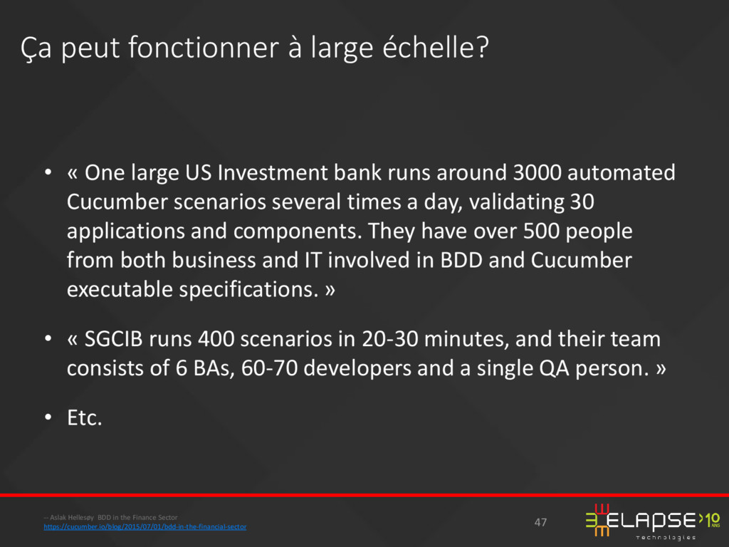 • « One large US Investment bank runs around 30...