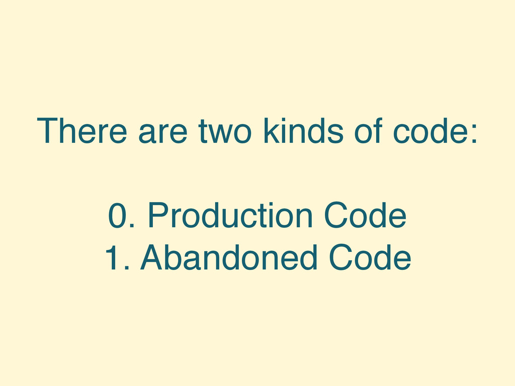 There are two kinds of code: 0. Production Code...