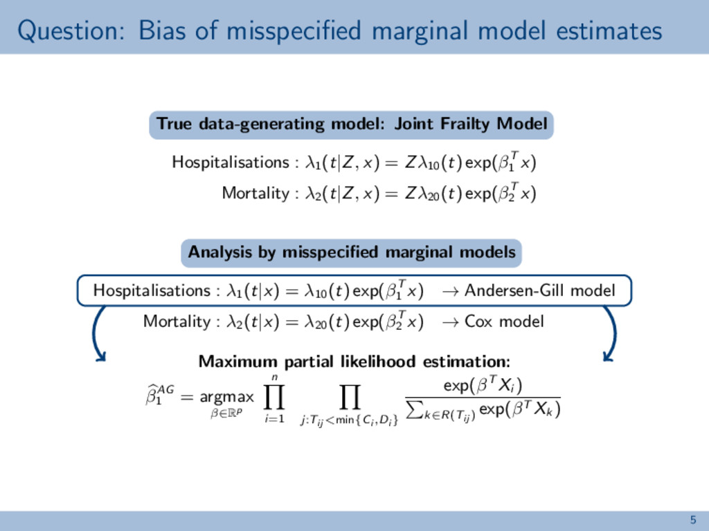 Question: Bias of misspecified marginal model es...