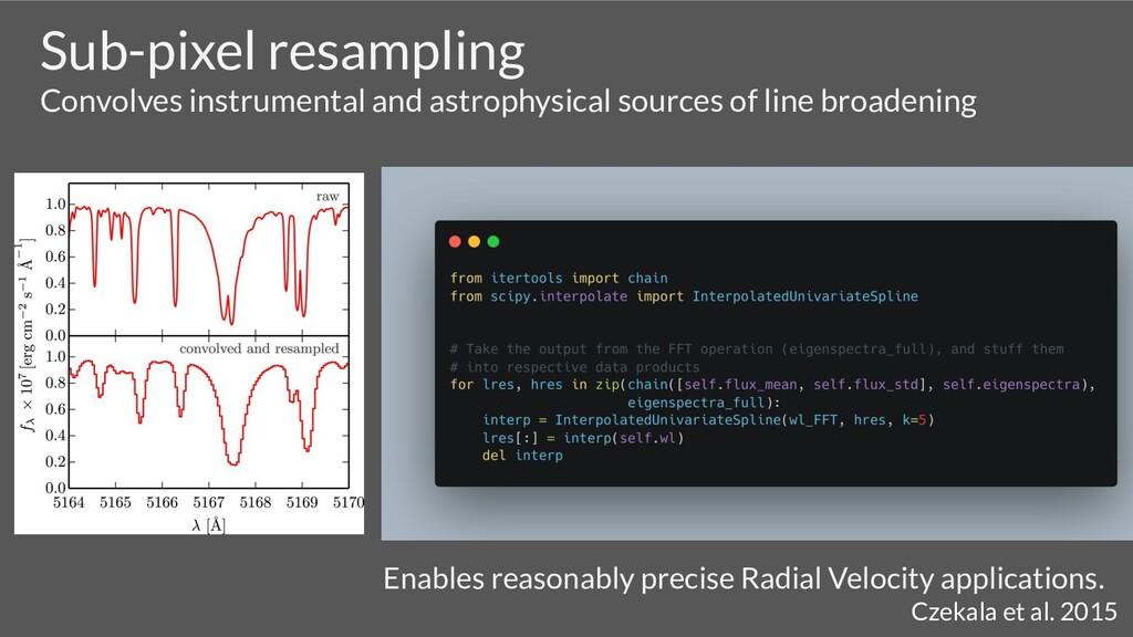 Sub-pixel resampling Convolves instrumental and...