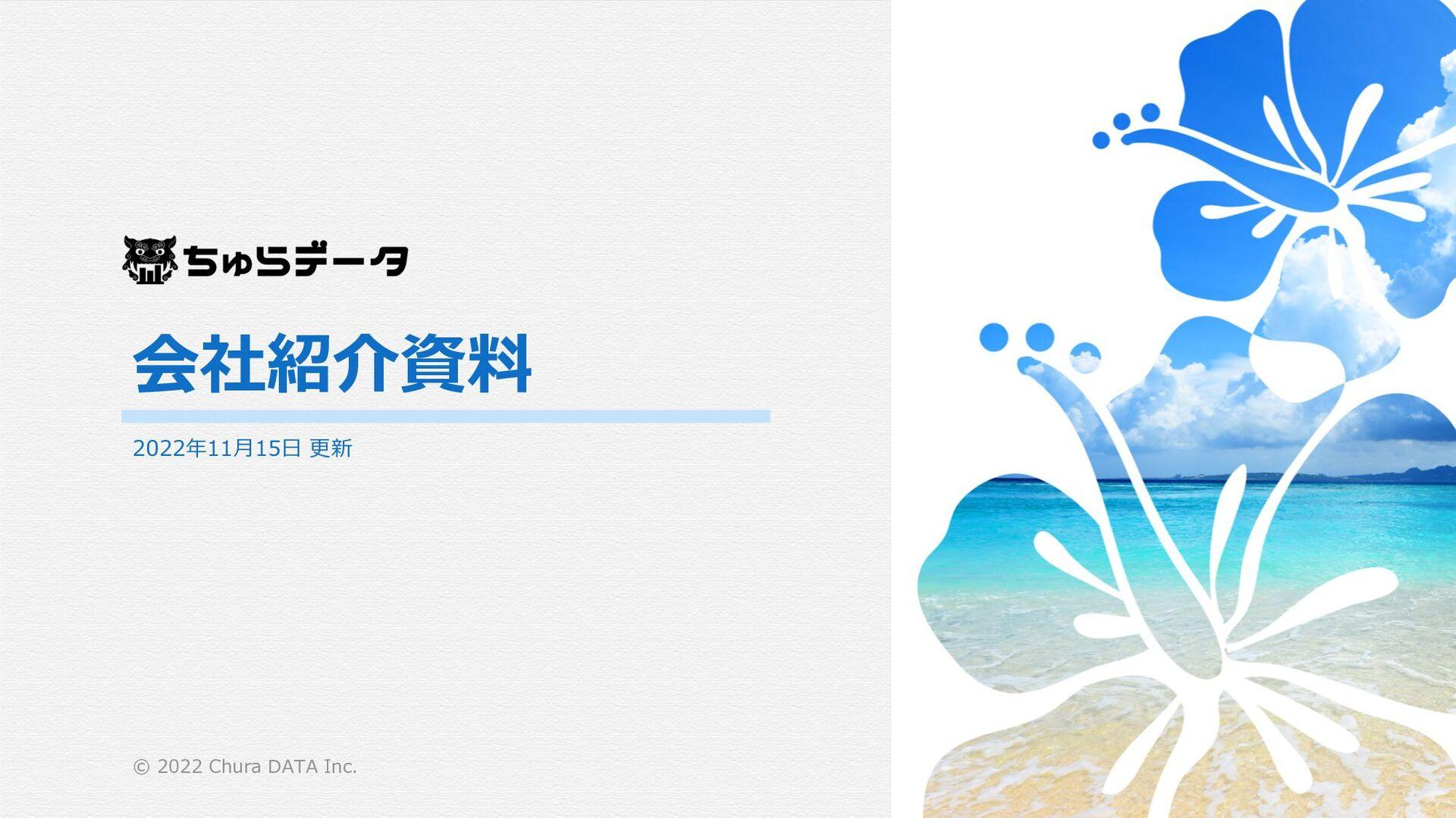 ちゅらデータ 会社紹介資料 2021年8⽉18⽇ 更新 © 2021 Chura DATA i...