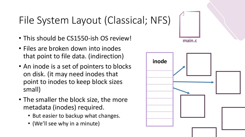 File System Layout (Classical; NFS) • This shou...