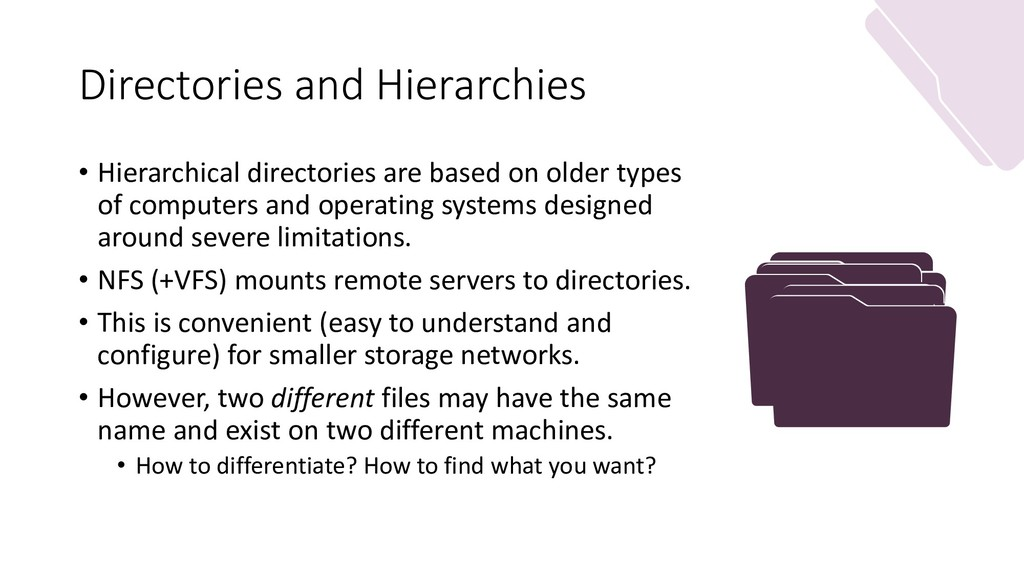 Directories and Hierarchies • Hierarchical dire...