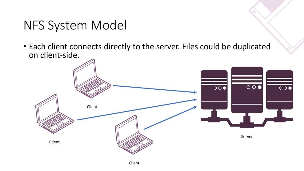 NFS System Model Client Client Client Server • ...