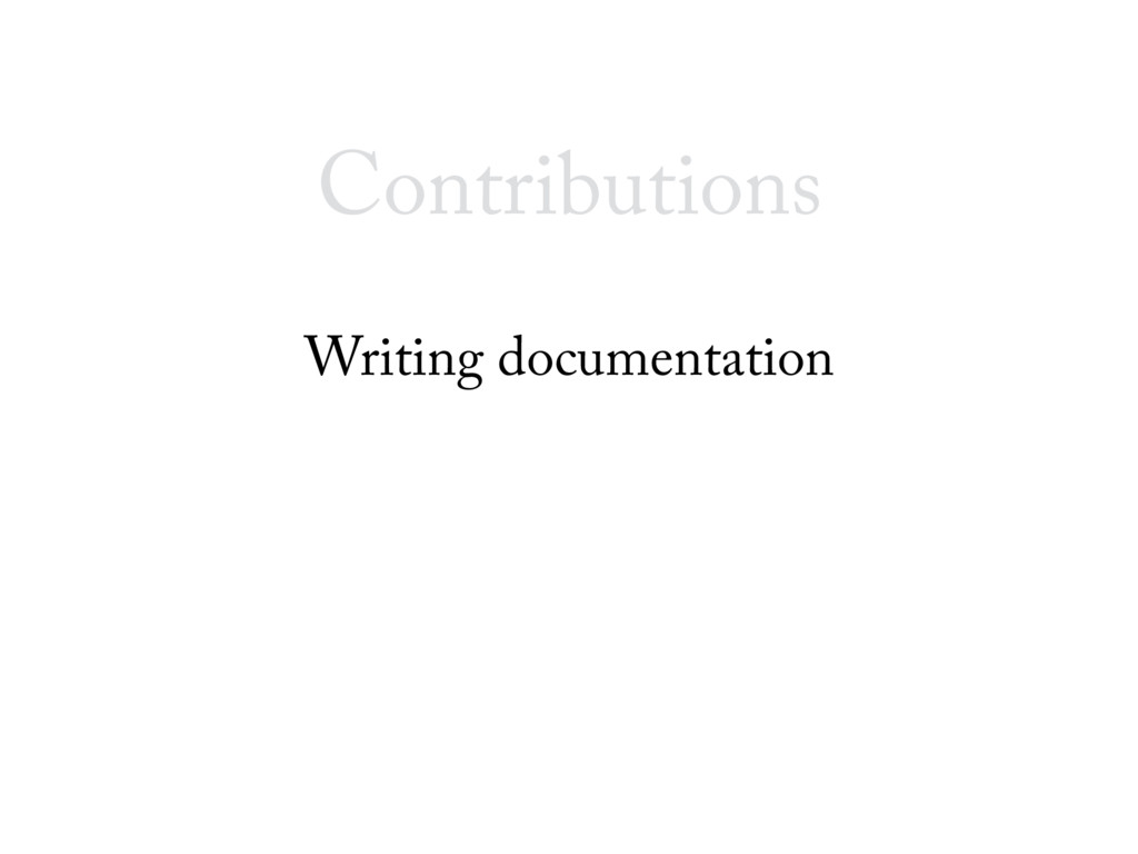 Writing documentation Contributions