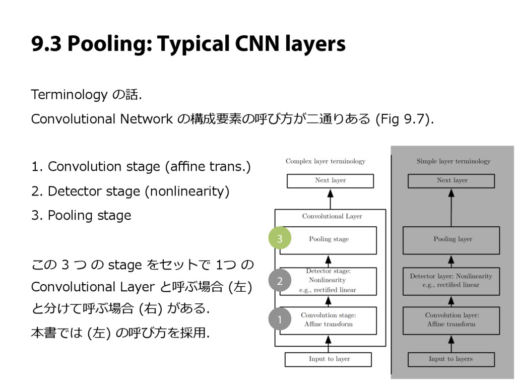 9.3 Pooling: Typical CNN layers Terminology の話....