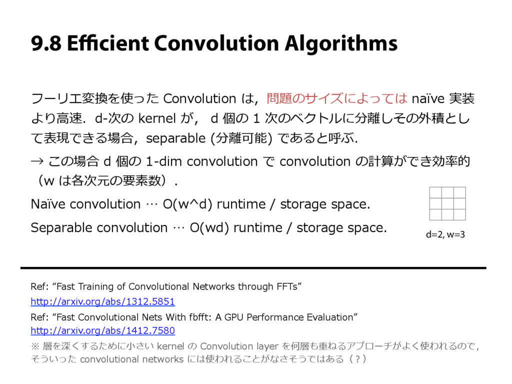 9.8 Efficient Convolution Algorithms フーリエ変換を使った C...