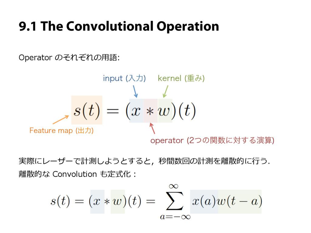 9.1 The Convolutional Operation PQFSBUPS ͭͷؔ...