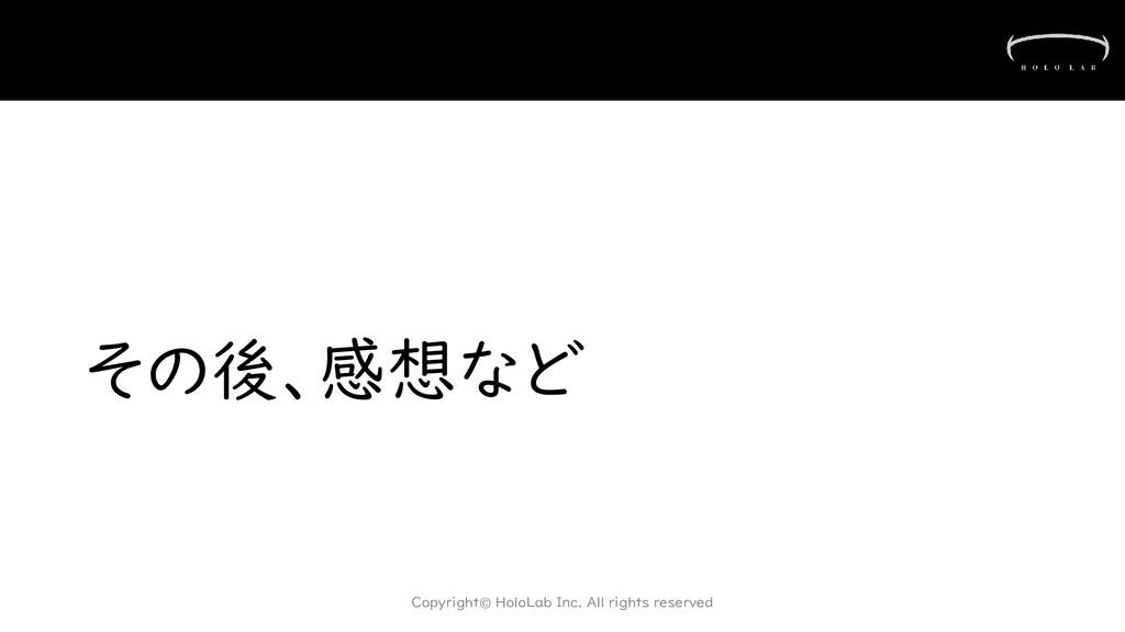 その後、感想など Copyright© HoloLab Inc. All rights res...