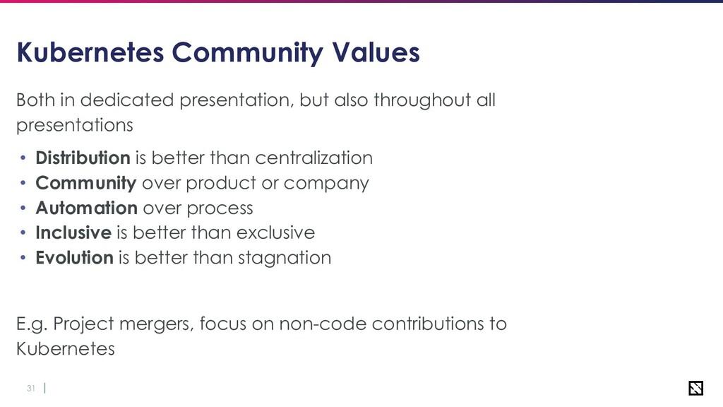 31 Kubernetes Community Values Both in dedicate...