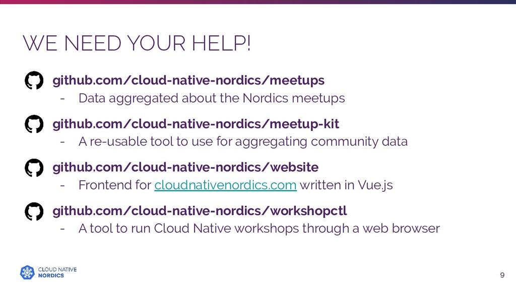 WE NEED YOUR HELP! 9 github.com/cloud-native-no...