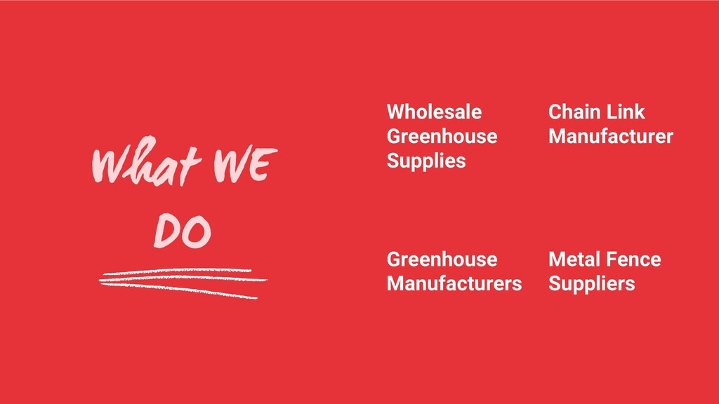 What WE DO Greenhouse Manufacturers Wholesale G...