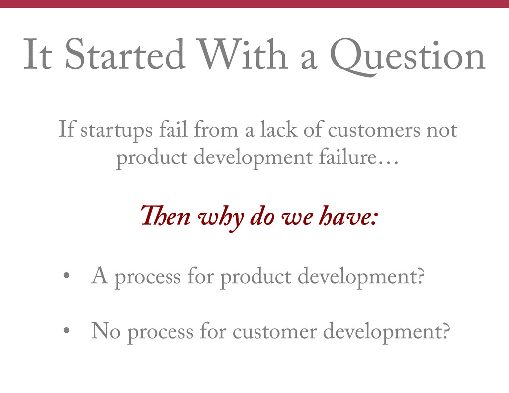 It Started With a Question If startups fail fro...