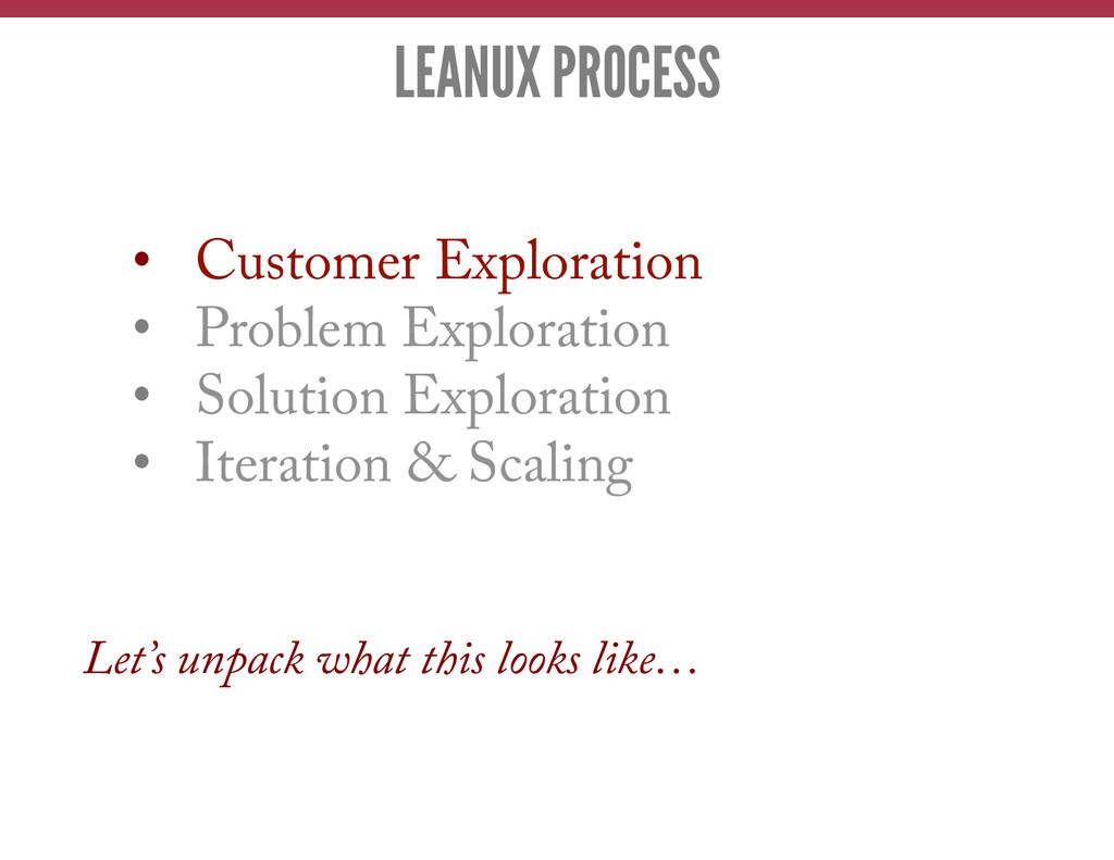 • Customer Exploration • Problem Exploration ...