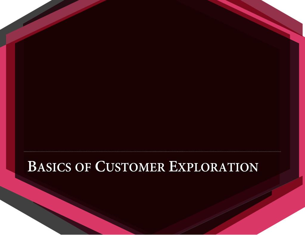 BASICS OF CUSTOMER EXPLORATION