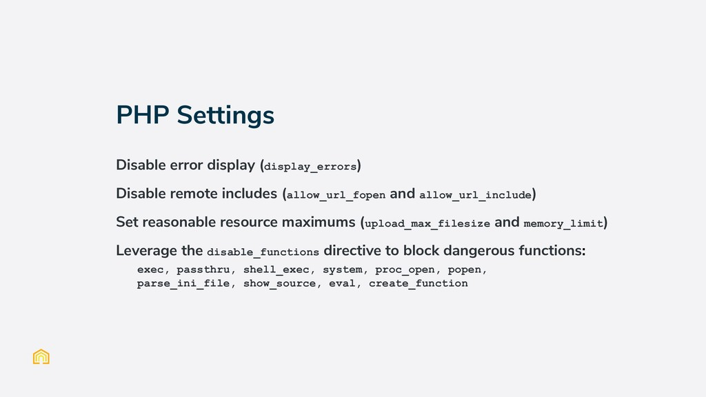 PHP Settings Disable error display (display_err...