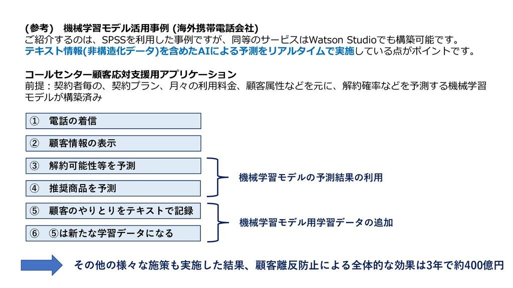 (参考) 機械学習モデル活⽤事例 (海外携帯電話会社) ご紹介するのは、SPSSを利⽤した事例...