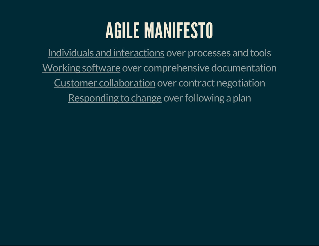 AGILE MANIFESTO Individuals and interactions ov...