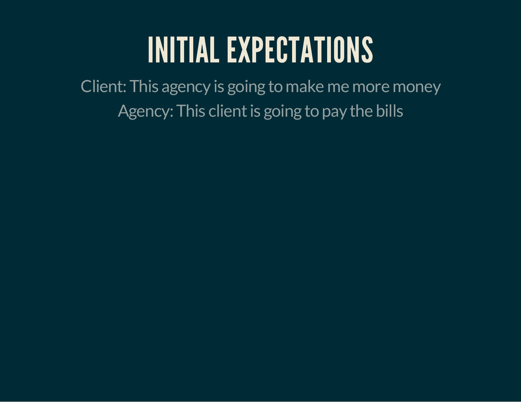 INITIAL EXPECTATIONS Client: This agency is goi...