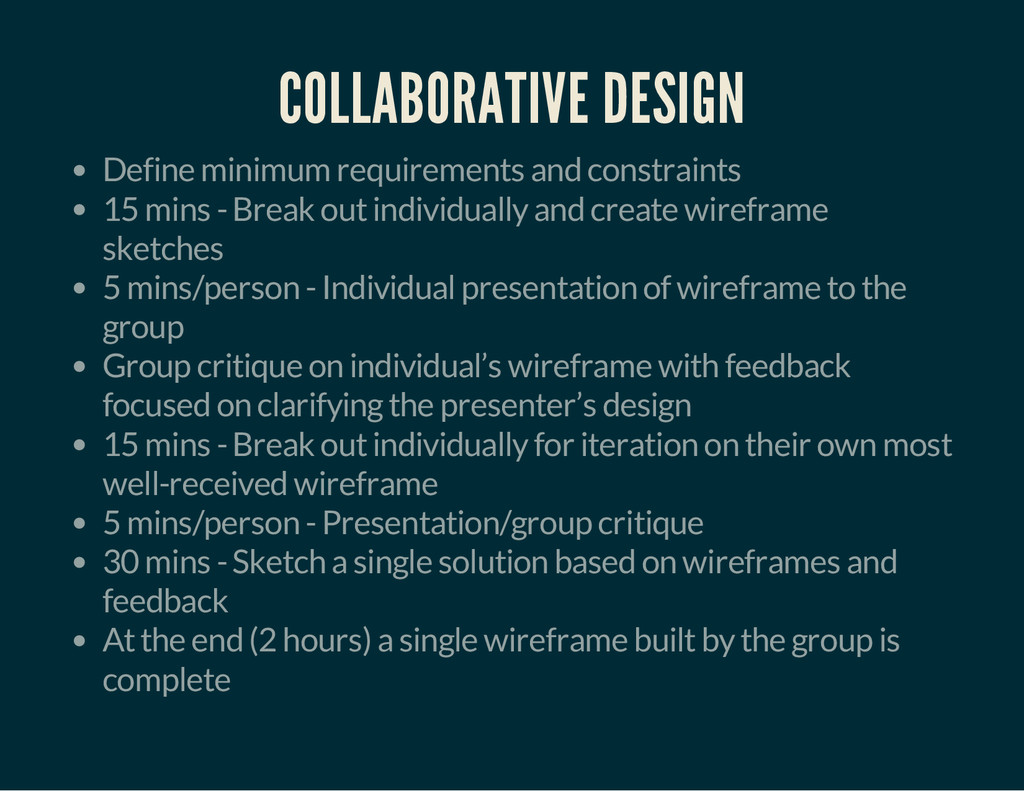 COLLABORATIVE DESIGN Define minimum requirement...