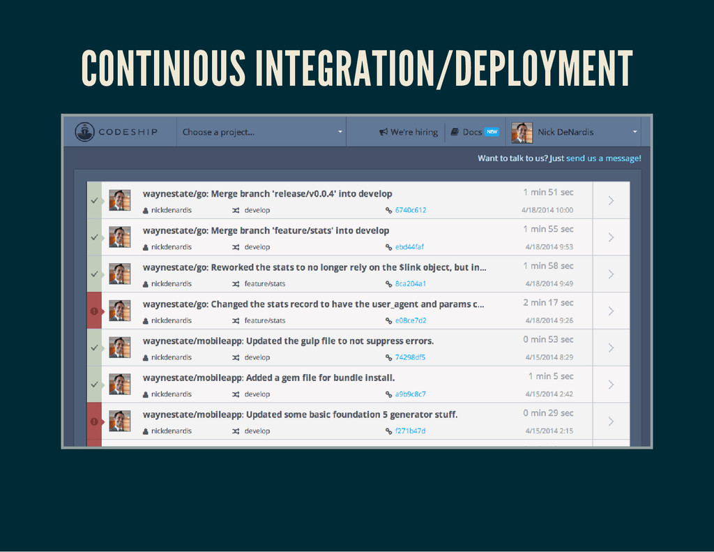 CONTINIOUS INTEGRATION/DEPLOYMENT