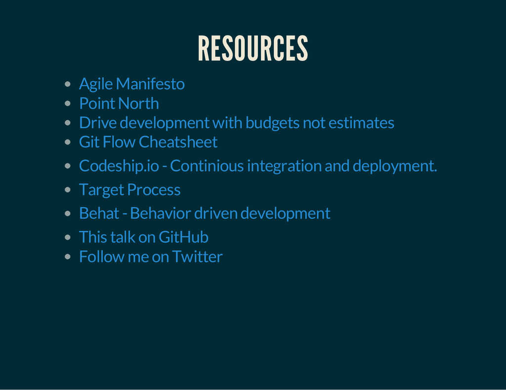 RESOURCES Agile Manifesto Point North Drive dev...