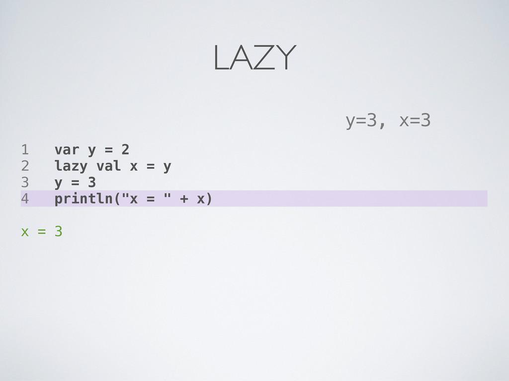 1 var y = 2 2 lazy val x = y 3 y = 3 4 println(...