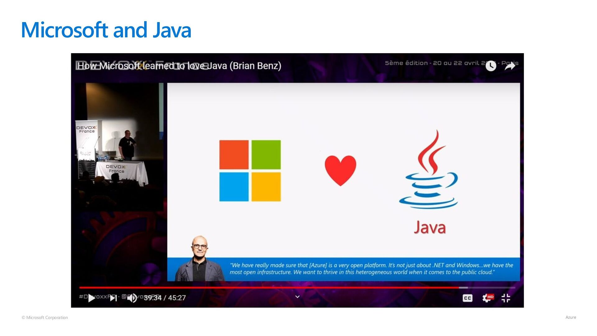 © Microsoft Corporation Microsoft Loves Java