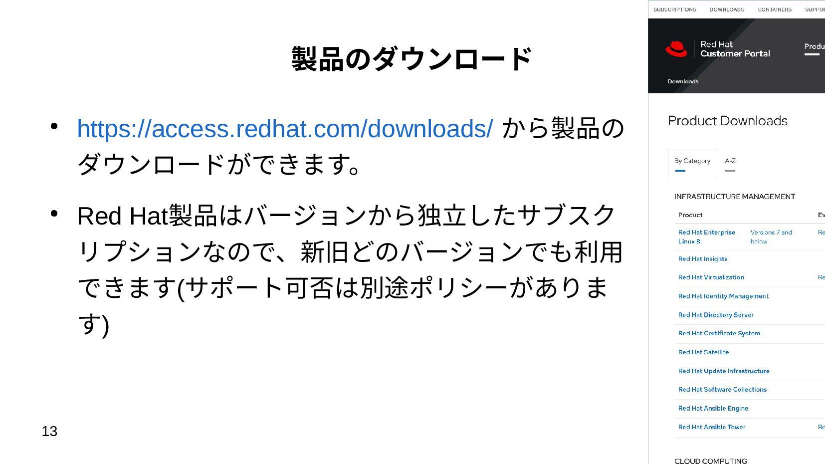 13 製品のダウンロード ● https://access.redhat.com/downlo...