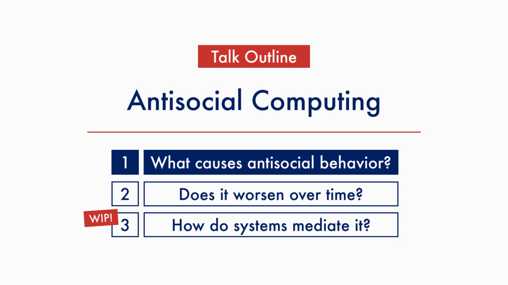 Antisocial Computing Talk Outline What causes a...