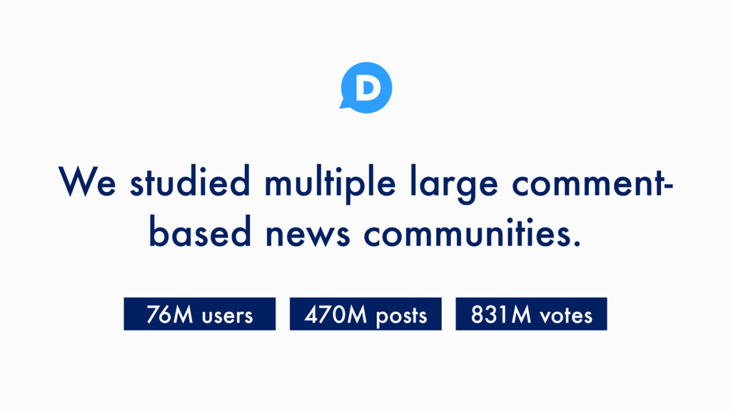 We studied multiple large comment- based news c...