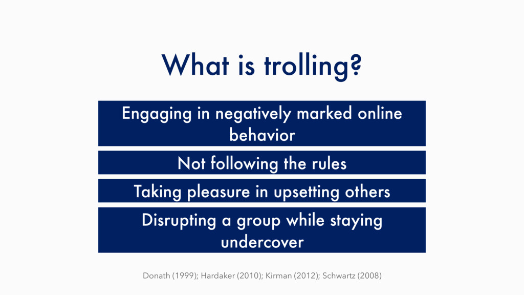 What is trolling? Engaging in negatively marked...