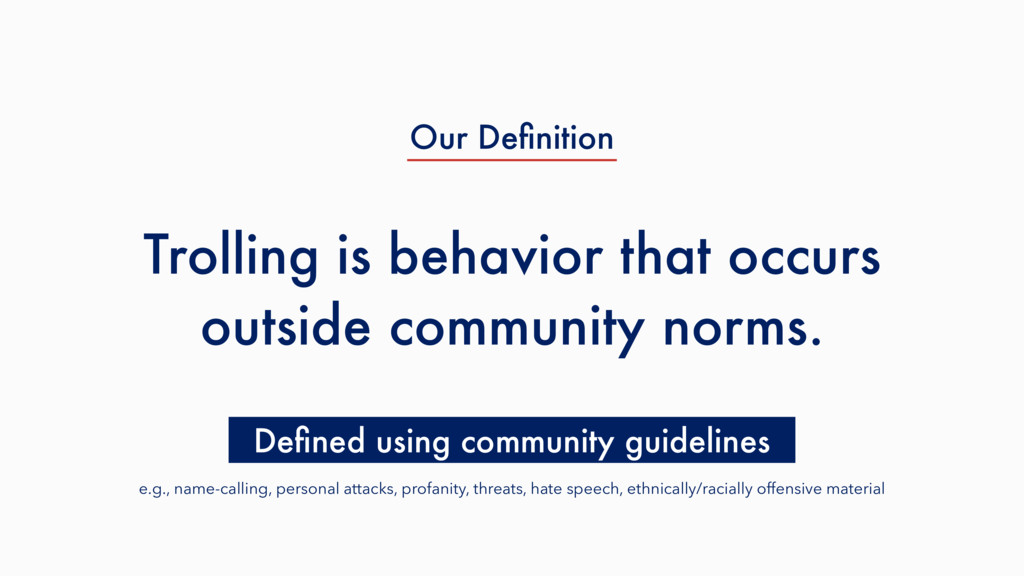Trolling is behavior that occurs outside commun...