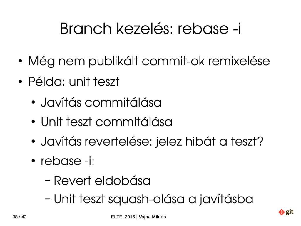 38 / 42 ELTE, 2016   Vajna Miklós Branch kezelé...