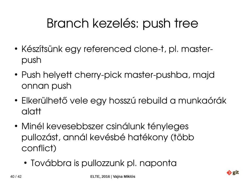 40 / 42 ELTE, 2016   Vajna Miklós Branch kezelé...