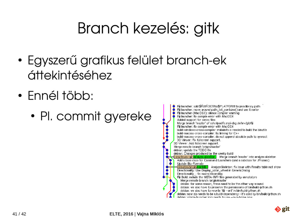 41 / 42 ELTE, 2016   Vajna Miklós Branch kezelé...