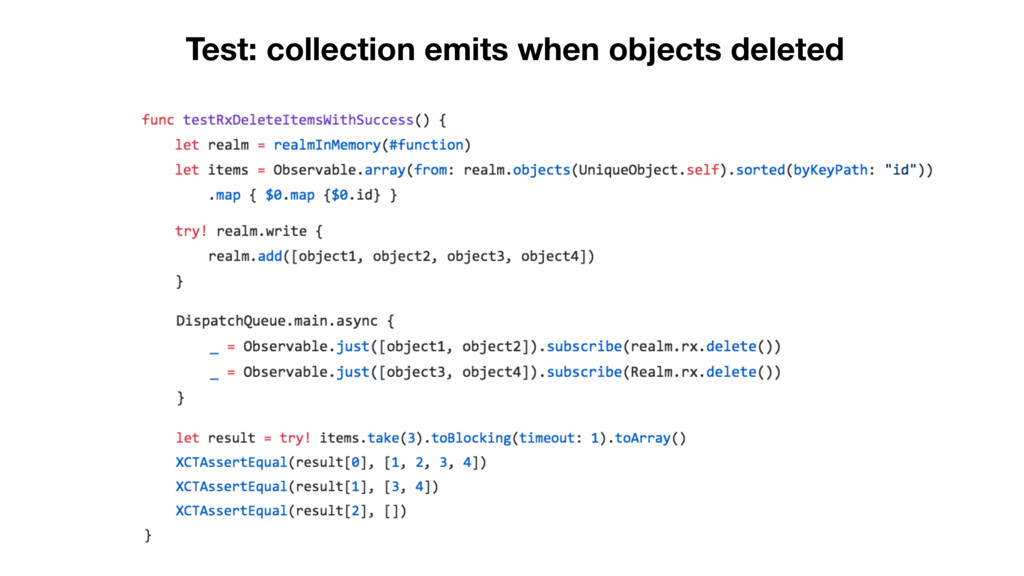 Test: collection emits when objects deleted