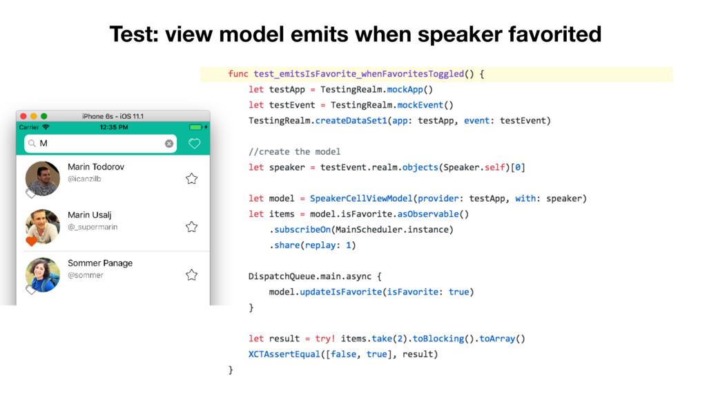 Test: view model emits when speaker favorited