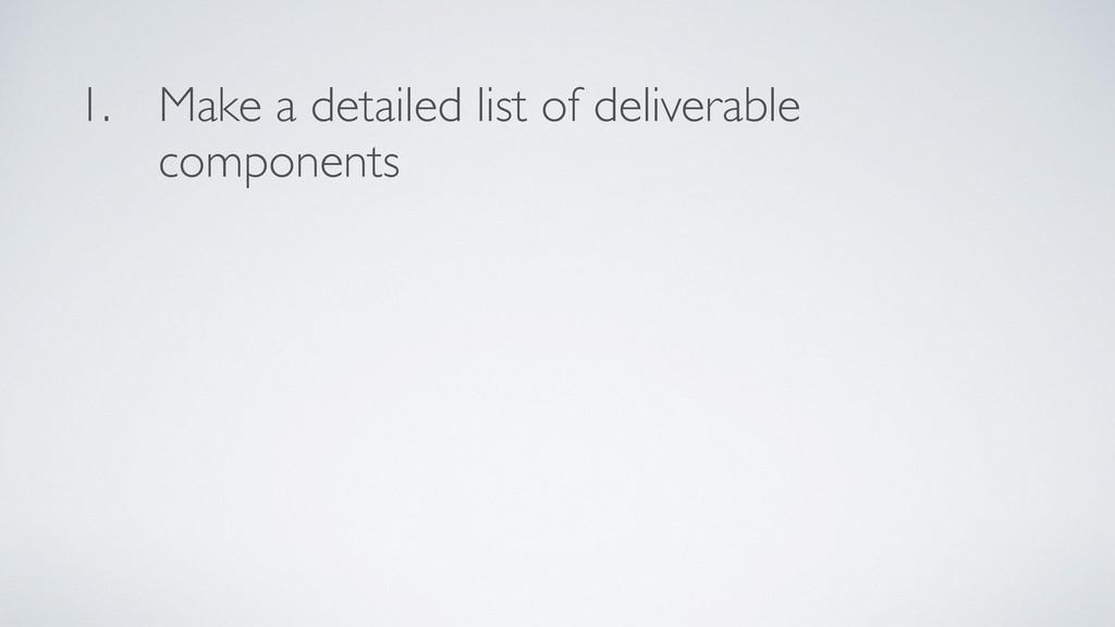 1. Make a detailed list of deliverable componen...