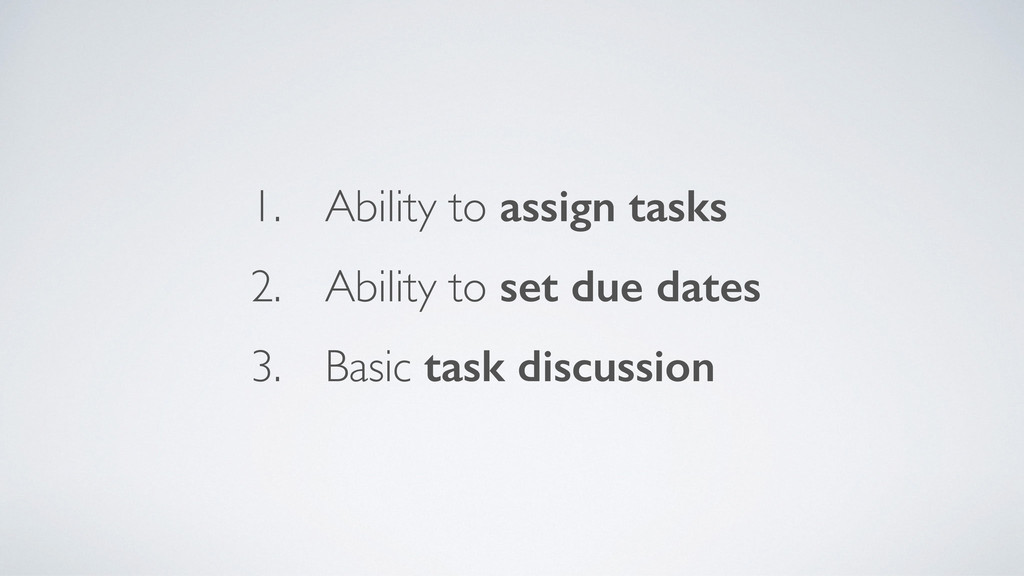 1. Ability to assign tasks	 