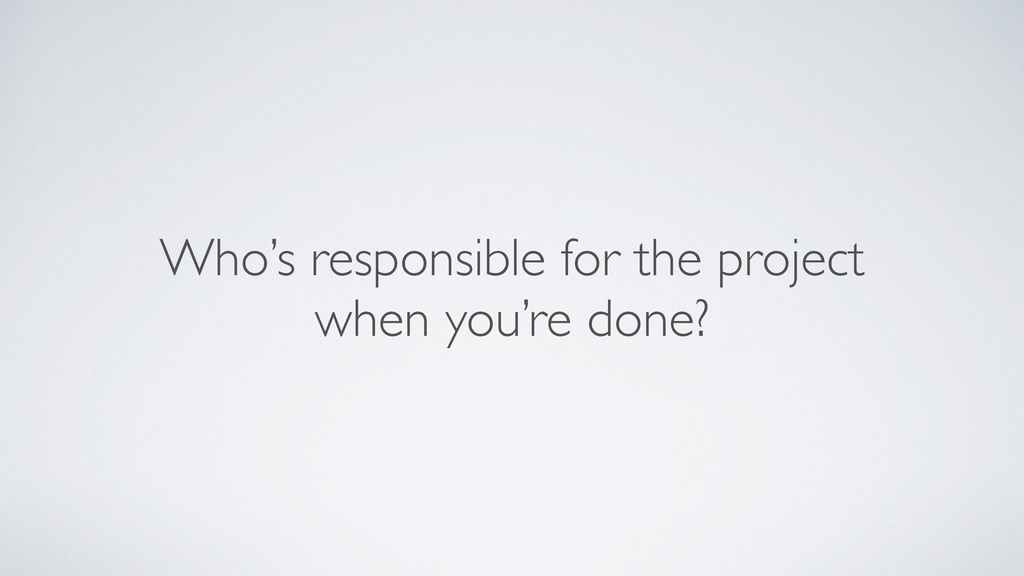 Who's responsible for the project
