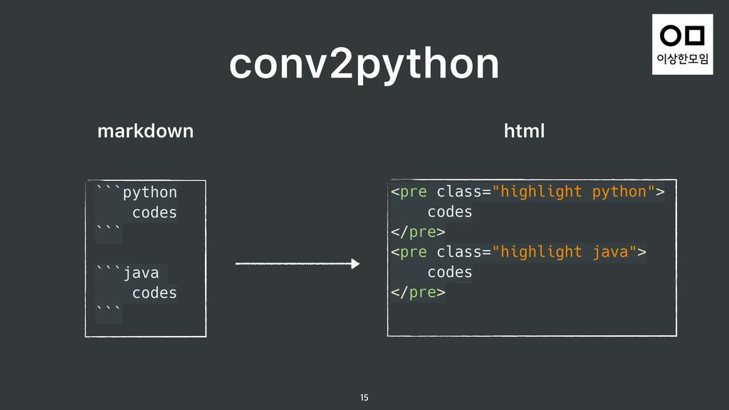 conv2python  ```python codes ```  ```java...