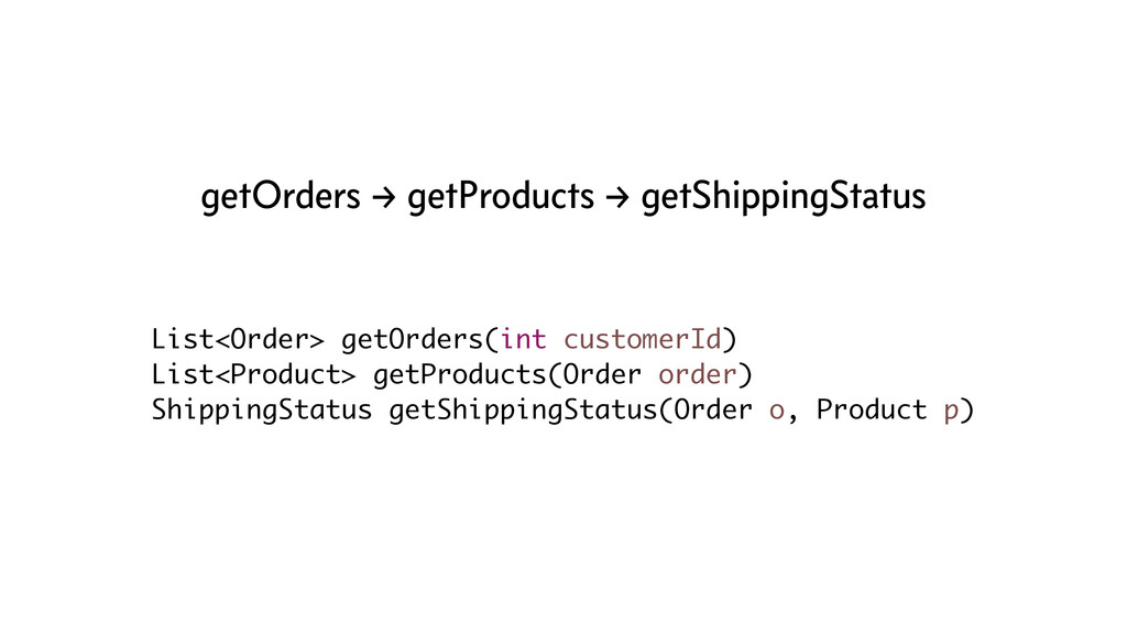 List<Order> getOrders(int customerId) List<Prod...