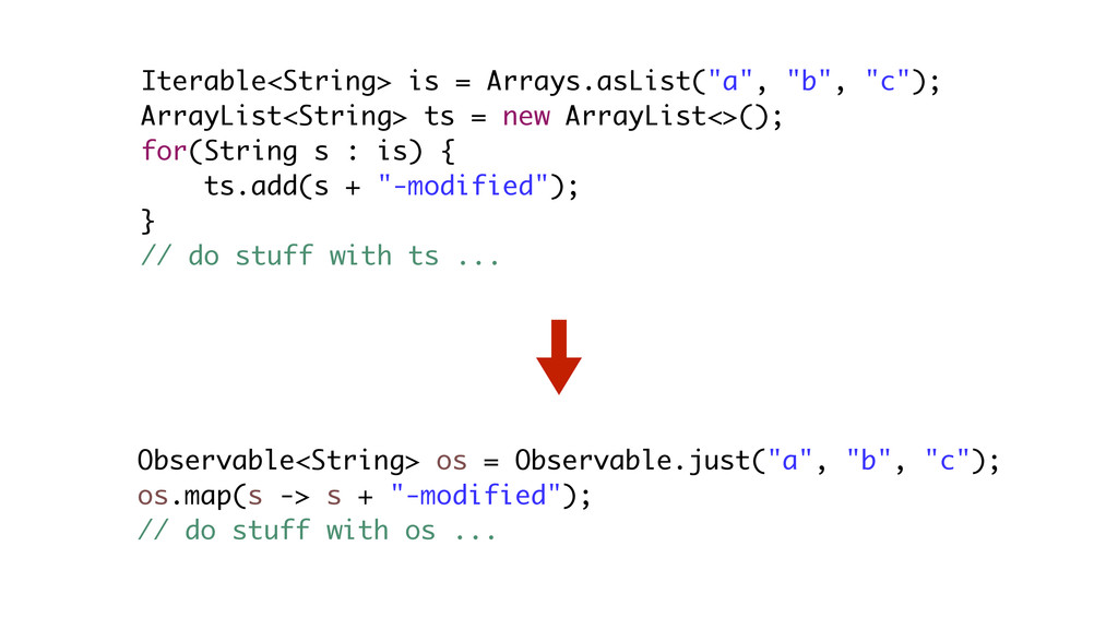 "Iterable<String> is = Arrays.asList(""a"", ""b"", ""..."