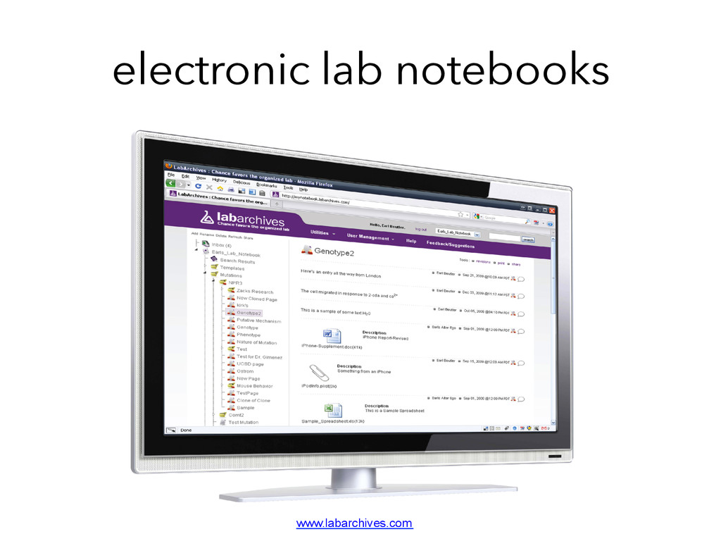 electronic lab notebooks www.labarchives.com	