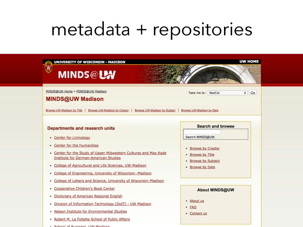 metadata + repositories