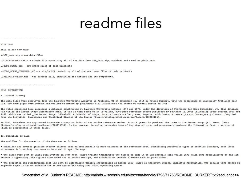 readme files Screenshot of M. Burkert's README: ...