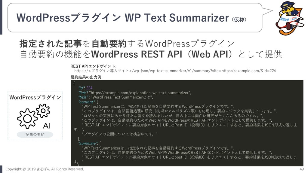 WordPressプラグイン WP Text Summarizer(仮称) WordPress...