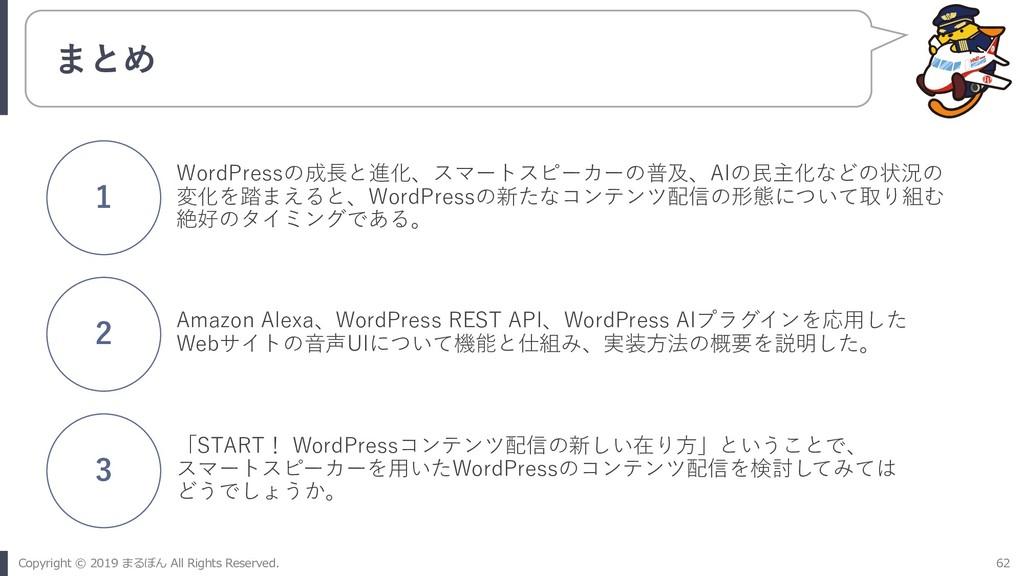 まとめ WordPressの成⻑と進化、スマートスピーカーの普及、AIの⺠主化などの状況の 変...