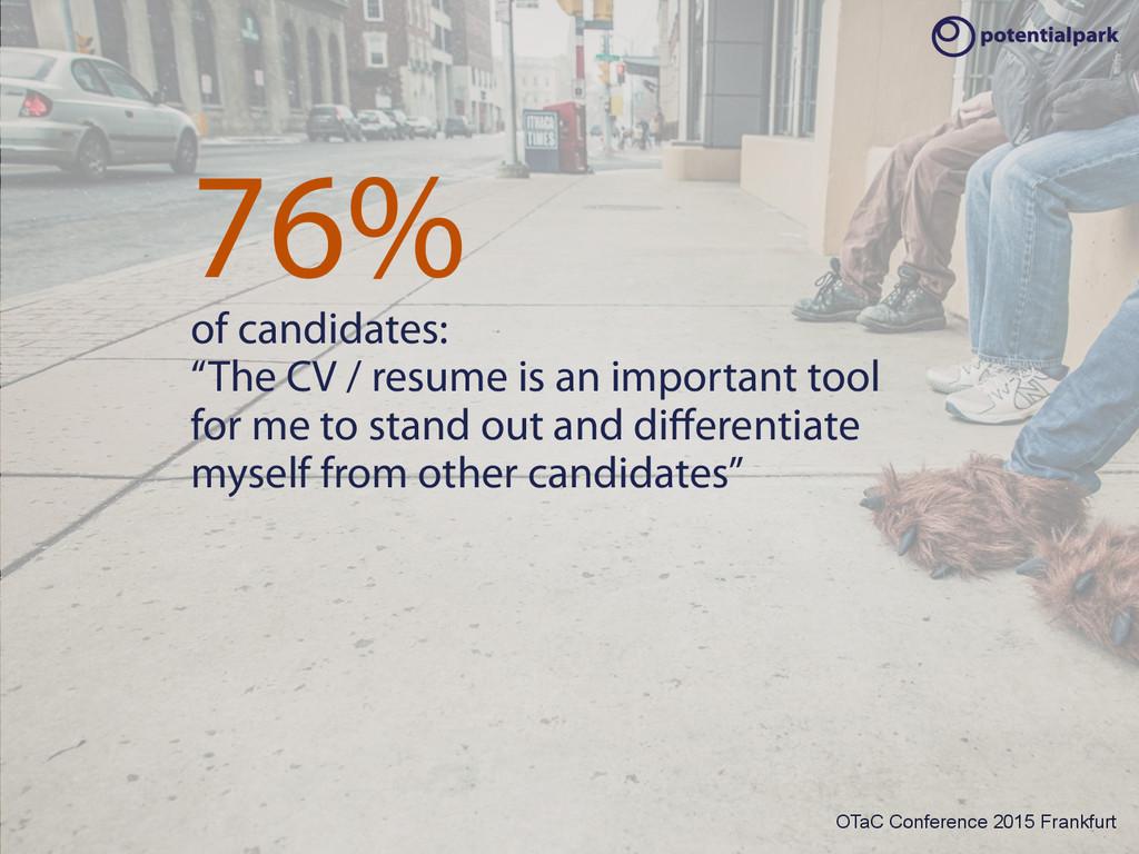 OTaC Conference 2015 Frankfurt 76% of candidate...
